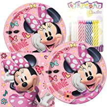 Minnie Mouse Themed Party Pack – Includes Paper Plates & Luncheon Napkins Plus 24 Birthday Candles – Servers 16