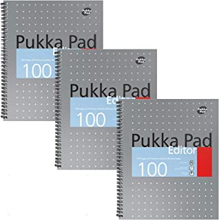 Pukka Pad Single Subject Editor Notebook 3-Pack US Letter Size 50 Premium 80 GSM Sheets Silver