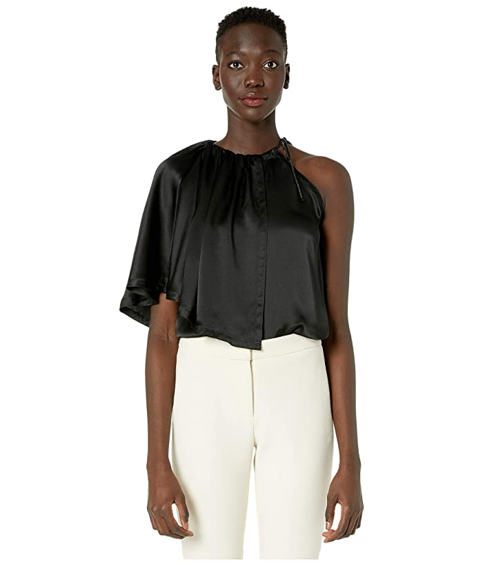 YIGAL AZROUEL Charmuse Ruched Neck Blouse (Black) Women's Blouse