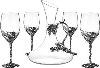 SEMAXE Wine Glasses Set of 5, Crystal Wine Glasses Set 4x 12oz Wine Glasses 1x 52oz Decanter (Fruitful Wine Glasses Set of 5)