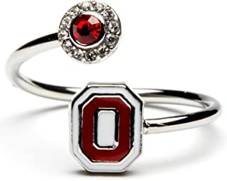 Ohio State Ring | Ohio State Block O Ring with Scarlet Crystal | OSU Jewelry | Officially Licensed Ohio State Jewelry | OSU Gifts | Stainless Steel