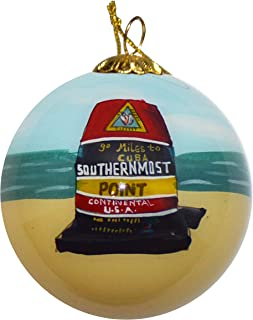 Art Studio Company Hand Painted Glass Christmas Ornament - Buoy & Beach Southern Most Point Key West