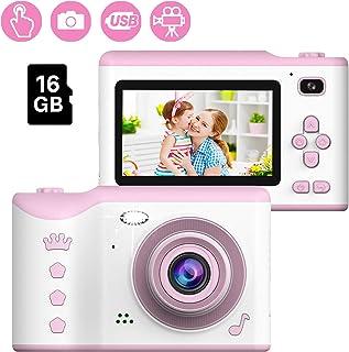 Cámara Digital para niños 1080P HD Video Cámara Selfie Mini Cámara de Fotos Digitales para Infantil Recargable 2.8 Pulgadas con Tarjeta de 16GB TF Regalos de 3 a 12 años de Niños y Niñas