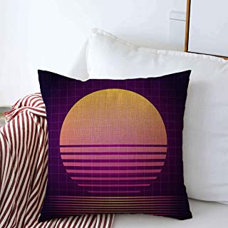 Starookc Pillow Case Purple Electro 80S Retro Sci Fi VHS Raster Funky Copy File Sunset 90S Abstract Cosmic Farmhouse Decor Throw Pillows Covers 20