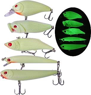 BUBBLE FISHING Night Fishing Lure Kit 5pcs Hard Luminous Bait Set Glows in the Dark