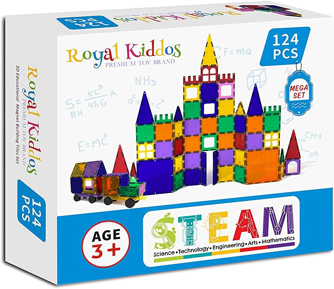 Royal Kiddos - 124 PCS with Ranking TOP18 Magnetic Cars 2 Building Easy-to-use To Blocks