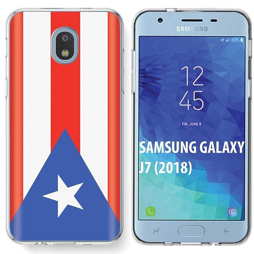 [SkinGuardz] Samsung Galaxy (J7 2018)/J7 Aero/J7 Refine/J7 Star/J737/J7 V 2nd Gen [Clear] Slim Impact Resistant Armor Cover Case [Puerto Rican Flag Print]
