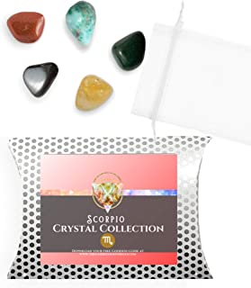 The Goddess On The Go Scorpio Zodiac Crystal Kit | Premium Birthstone 5 Tumbled Stone Set with Treasure Bag and Digital E-...