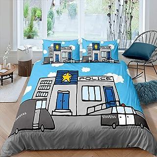 Erosebridal Police Duvet Cover Teen Boys Blue Gray Kids Bedding Set Cute Cartoon Car Pattern Bedroom Decor Comforter Cover...