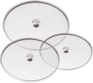 Kuber Industries Code-Net37 Stainless Steel Multipurpose Net Lid Set, Set of 3, Silver