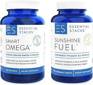 Essential Stacks Fish Oil & Vitamin D Bundle - Enjoy 1400mg EPA/DHA Fish Oil + 2,000 IU Vitamin D3 per Serving