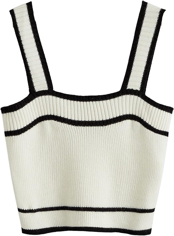 SweatyRocks Women's Sleeveless Ribbed Knit Spaghetti Strap Crop Cami Tank Top