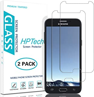 HPTech Galaxy J3 Emerge Screen Protector - (2-Pack) Tempered Glass for Samsung Galaxy J3 Emerge Screen Protector Bubble Free, Easy to Install with Lifetime Replacement Warranty