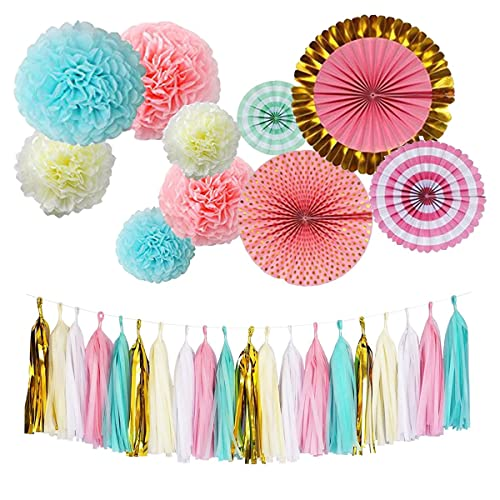 Monkey Home Tissue Paper Tassel Pom Poms Flowers Fans Kit For Birthday Decorations