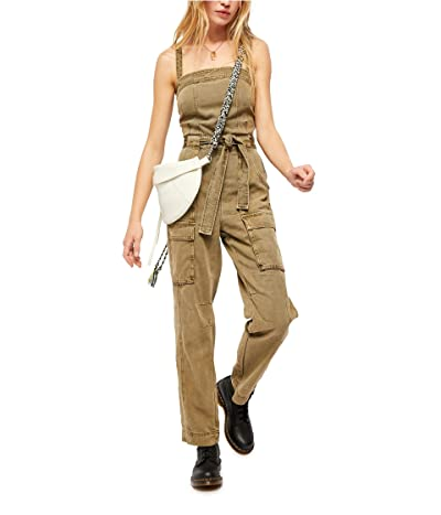Free People Go West Utility Jumpsuit (Moss) Women
