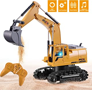 Jogotoll Rc Excavator Full Function Remote Control Excavator 8 Channel 2.4GHz Construction Vehicle Toys with Flashing Lights, 1/24 Scale Rechargeable Rc Truck Excavator, Gifts for Boys Girls Toddlers