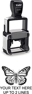 Monarch Butterfly Rubber Stamp – Small Heavy Duty Self-Inking - 1 inch (25mm) Tall Image Area - Select from Several Sizes – Can be Customized with Text – Black Ink