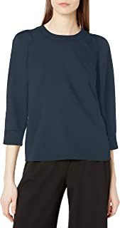 Lark & Ro Amazon Brand Women's 3/4 Puff Sleeve Crew Neck Top