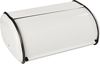 Home Basics Roll-Top Lid Steel Bread Box For Kicthen, Bread Bin, Bread Storage Bread Holder, White