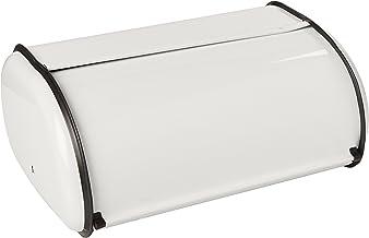 Home Basics Roll-Top Lid Steel Bread Box For Kicthen, Bread Bin, Bread Storage Bread Holder, White