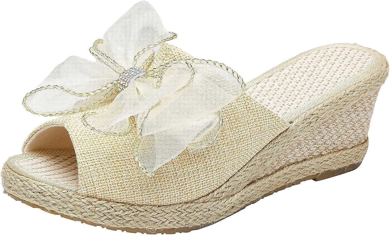 Pzhhzpingg Espadrille Wedge Sandals online shop for Peep Women Solli Toe Branded goods Bow