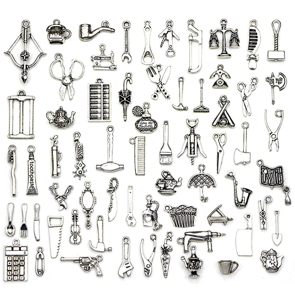 Kinteshun Alloy Living Tools Daily Supplies Charm Pendant Connector for DIY Jewelry Making Accessaries(65pcs,Silver Tone)