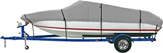 iCOVER Trailerable Boat Cover, Heavy Duty Waterproof UV Resistant Marine Grade Polyester Fits V-Hull,TRI-Hull,Pro-Style,Fishing Boat,Runabout,Bass Boat, Optional Support Pole/Tightening Straps