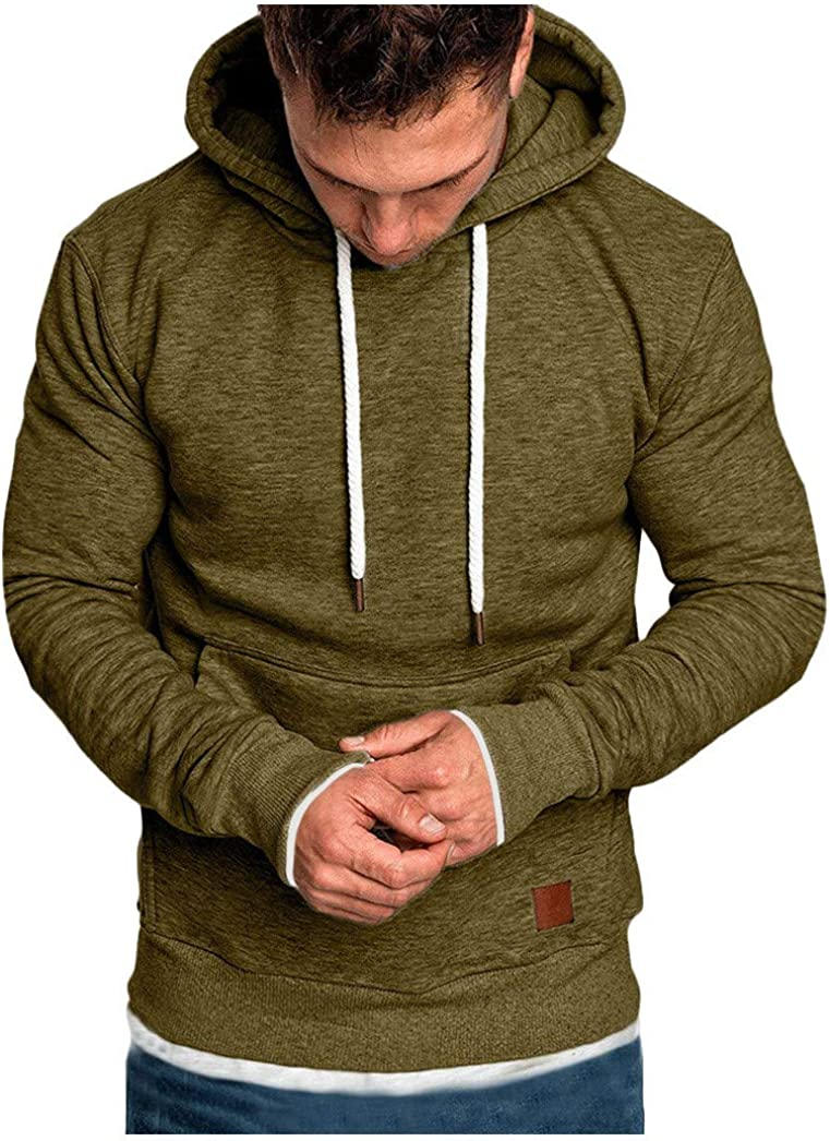 Hoodies for Men, Misaky Solid Color Long Sleeve Pocket Plus Size Pullover Hooded Sweatshirts Junmper Tops