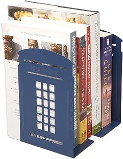 1 par de sujetalibros nostálgicos en la cabina telefónica de Londres Sujetalibros de metal de estilo británico para estanterías Sujetalibros Regalos con final de libro (azul)