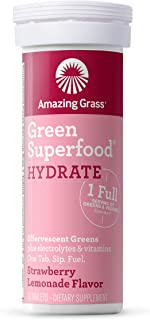 Amazing Grass Green Superfood Effervescent Hydration Tablets with Alkalizing Green and Antioxidant Blend, Strawberry Lemonade, 10 Count
