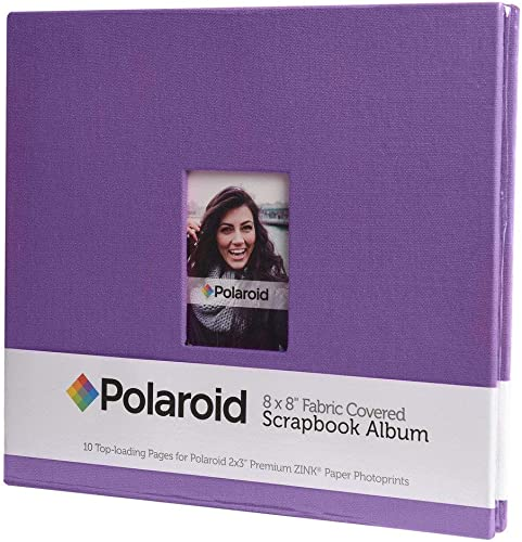"""lowest Polaroid popular 8""""x8"""" Cloth Covered Scrapbook Photo Album w/Front Picture Window for Zink online 2x3 Photo Paper Projects (Mint, Snap, Zip, Z2300) - Purple online"""