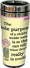 "Tree-Free Greetings sg23825 Hilarious Aunty Acid""Middle Names"" by The Backland Studio Ltd. 16 Oz Sip 'N Go Stainless Steel Lined Tumbler"