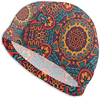 Smany Tribal Ethnic Floral Adult Swim Caps,High Elasticity, No Deformation Use,UV Protection, Waterproof Comfy Swimming Bathing Cap for Men and Women