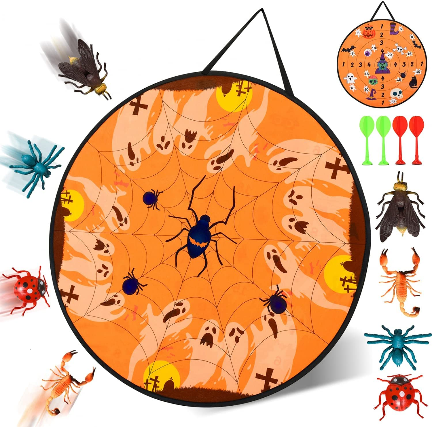 JETEHO Halloween Dart Board for Kids with 8 Toy Darts Throwing G