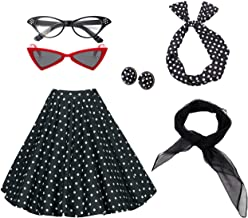 50's Women Costume Accessories Set Vintage Dot Skirt Scarf Headband Earrings Cat Eye Glasses for Party