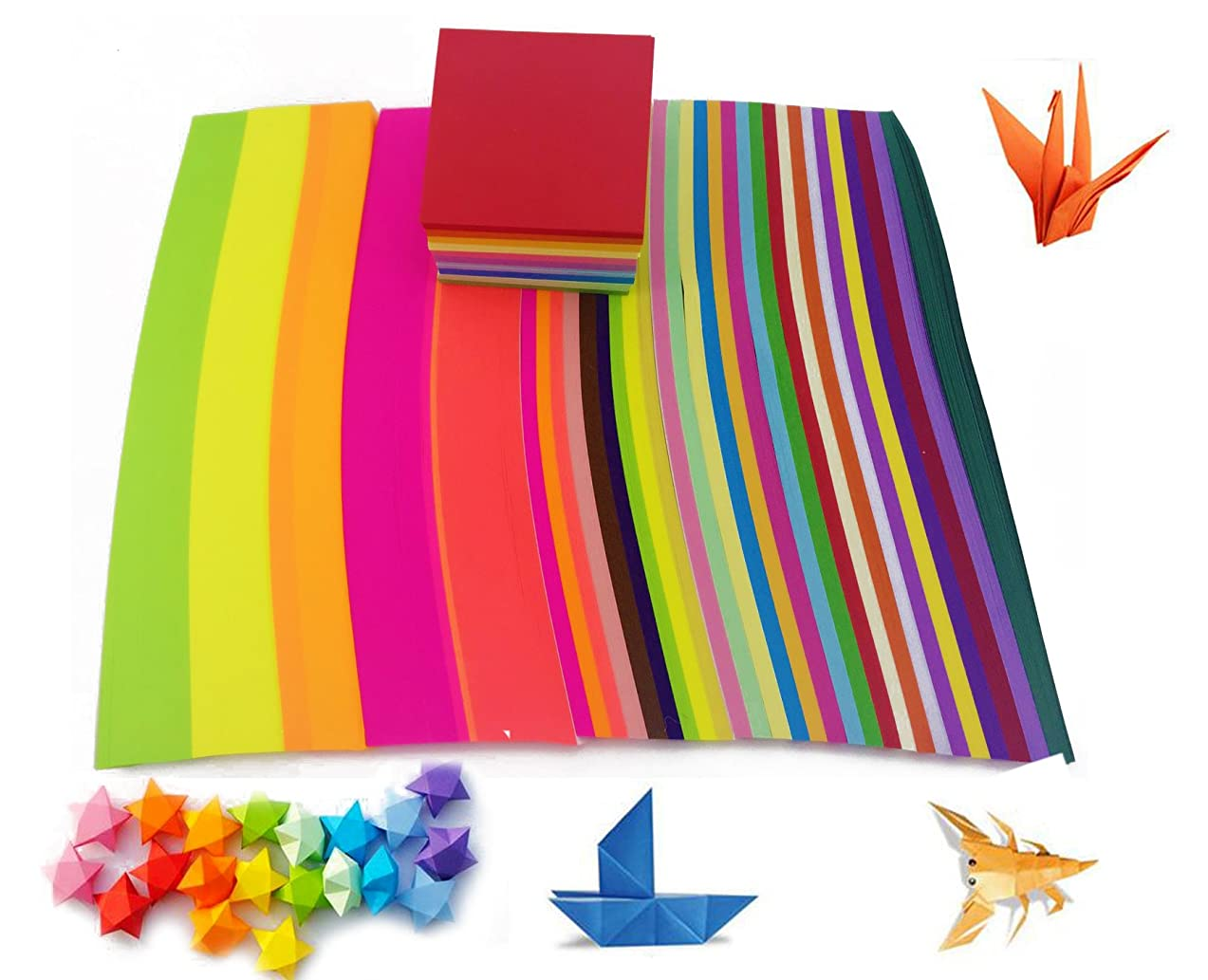 3220 Sheets ISusser Double Sided Origami Paper Included 1350 Sheets Origami Paper Star Strips Paper, 1350 Sheets Fluorescent Origami Star Paper And 520 Sheets Origami Cranes Paper, Assorted Colors.
