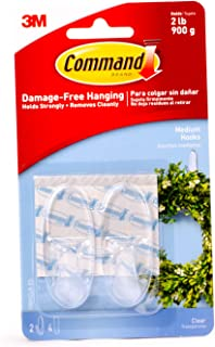 Command 17091CLR-ES Hooks with Strips, Medium, Holds 900 gr. each hook, clear Color. 2 hooks and 4 strips/pack, Decorate D...