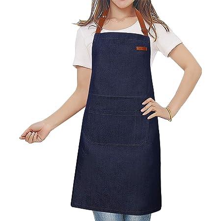 MaoXinTek Denim Tablier de cuisine réglable en jean avec poche, tablier de cuisine, pour femme, homme, pour café, barbecue, jardin, bleu
