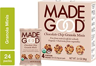 MadeGood Chocolate Chip Granola Minis, 6 Boxes (24 ct, .85 oz); Delicious and Wholesome Bite-Sized Treats Made with Organi...