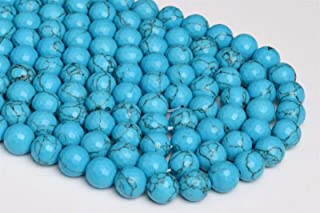 80002057 H-A62 12MM Turquoise Howlite Gemstone Faceted Round Loose Beads 7.5 inch Half Strand
