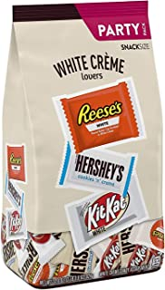 HERSHEY'S, REESE'S & KIT KAT Assorted White Crème Snack Size Candy Bars, Halloween, 32.6 oz Party Bag (Approx. 59 Pieces)