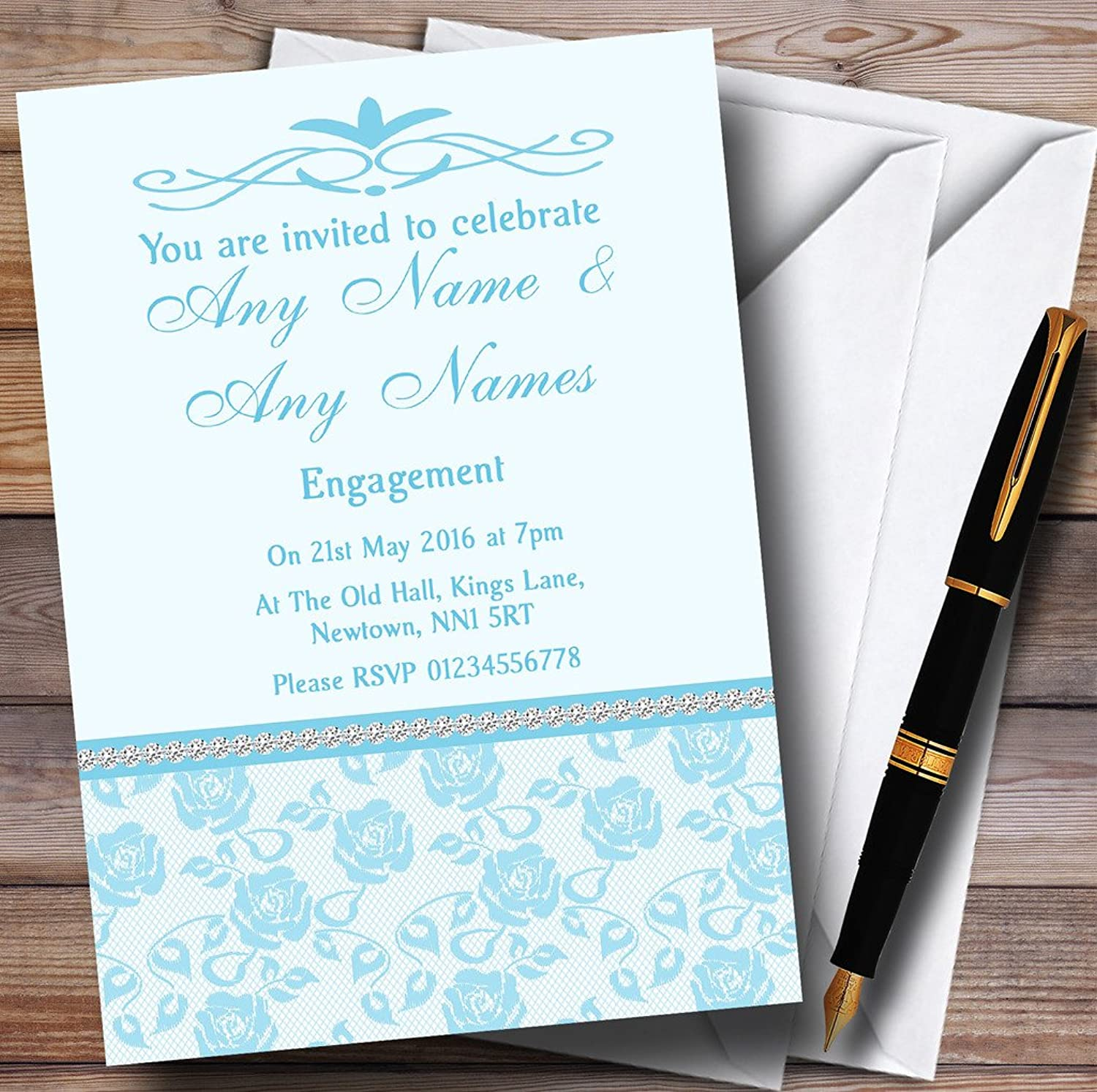 Pretty Sky bluee Floral Diamante Personalised Engagement Party Invitations   Invites & Envelopes