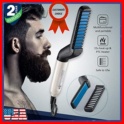 Priish® Premium Electric Instant V-3.43 2019 Portable Beard & Hair Straightener for Curly Beard & Hair Beard Care & Straightening with Comb for Men & Women - (100% Moneyback & Guarantee on Product)