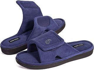VeraCosy Men's Comfort Coral Velvet Open Toe Slippers with Adjustable Hook and Loop