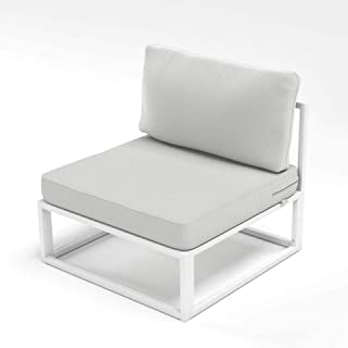 Outdoor White Steel Framed Chairs with Cushions – Set of Two