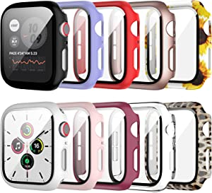 10 Pack Apple Watch Case with Tempered Glass Screen Protector for Apple Watch 38mm Series 3/2/1,JZK HD Hard PC Guard Bumper Leopard Sunflower Pattern Protective Cover for iWatch 38mm Accessories