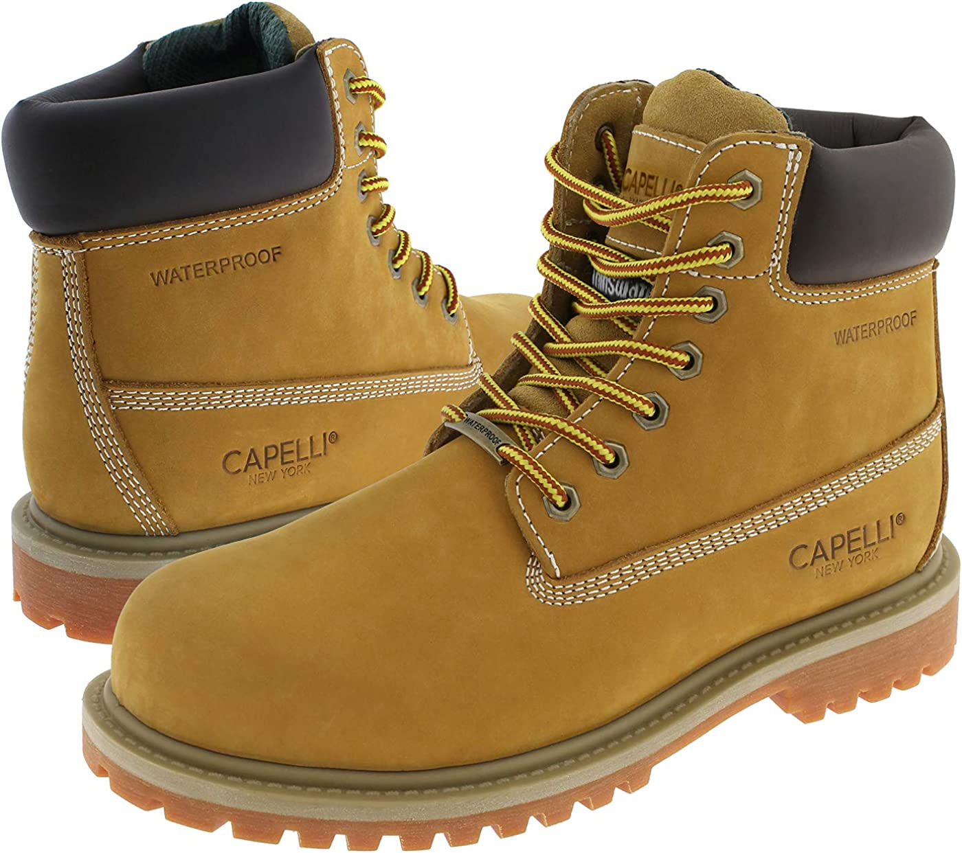 Capelli New York Mens Waterproof Nubuck Leather Work Boot with Memory Foam Insole