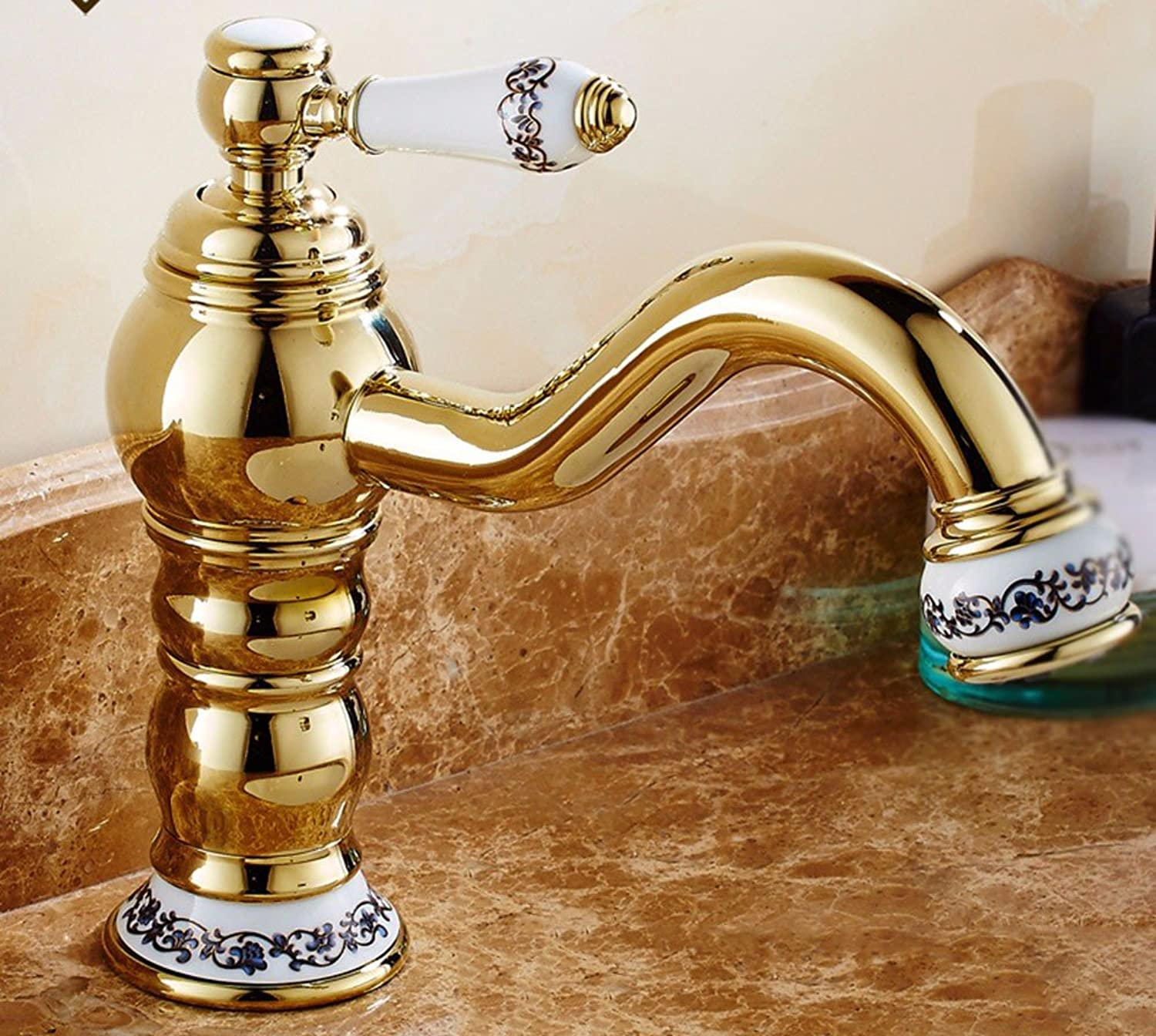 SCLOTHS Bathroom Basin Sink Mixer Tap Modern,simple,copper,gold,hot and cold faucet,d-662