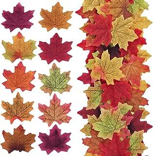 Supla 500 Pcs 10 Colors Assorted Fake Silk Autumn Maple Leaves Bulk Artificial Fall Leaf Foliage 3.15