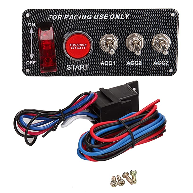 Yolu DC12V Ignition Switch Panel 5 in 1 Carbon Fiber Integrated Engine Start Push Button LED Toggle- Only for Racing Cars